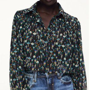 Zara Cropped print blouse - brand new with tags